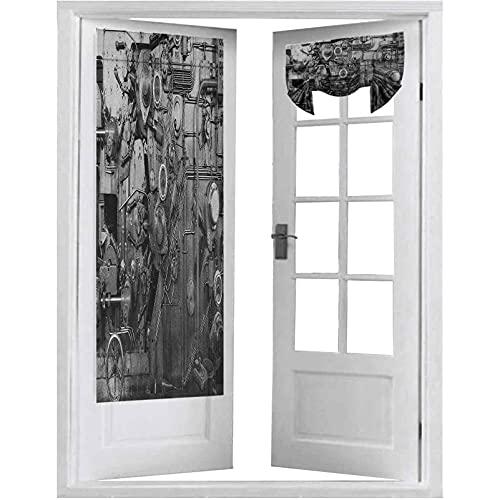 Persianas de puerta francesas, detalles de la máquina oxidada en el proceso de equipo físico de fábrica, 2 paneles-66 x 172 cm cortinas opacas para puerta de privacidad, blanco y negro