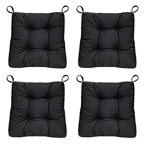 sleepling 4er Set Stuhlkissen/Sitzkissen Eva für Indoor und Outdoor, Maße: 40 (vorne) / 35 (hinten) x 38 x 8 cm, schwarz