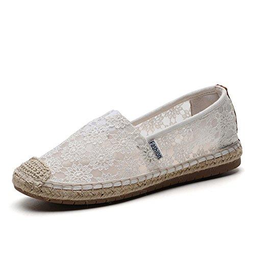 TIOSEBON - Alpargatas para mujer, transpirables, con bordado de ganchillo, zapatos de verano, para regalar a la familia, vacaciones, color Blanco, talla 36 EU