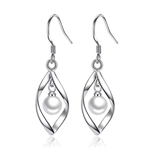 Xx101 The Latest Silver Geometric Twisted Zircon Pearl Drop Earrings Ladies Gift Tassel Ears Nixx0