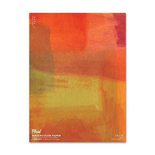 Fluid Watercolor Paper 881824 140LB Cold Press 18 x 24 Block, 15 Sheets