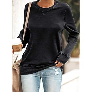 Women's Casual Long Sleeve Sweatshirt Round Neck Loose Pullover Tops Tunics