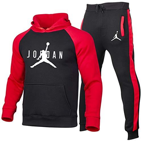 Juego de chándales con Capucha para Hombres + Pantalones de 2 Piezas - Sudadera con Capucha de Jordan Pullover Sudadera Suelta Neutral Red-B-L
