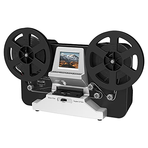 """8mm & Super 8 Reels to Digital MovieMaker Film Sanner Converter, Pro Film Digitizer Machine with 2.4"""" LCD, Black (Convert 3 inch and 5 inch Film reels into Digital) with 32 GB SD Card"""
