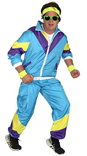 Foxxeo 80er Jahre Kostüm für Herren - türkis gelb lila - Trainingsanzug Fasching Karneval Motto-Party, Größe:S