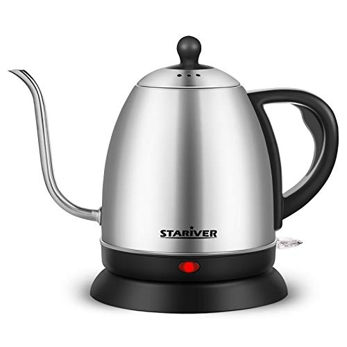 Stariver Electric Kettle Gooseneck Kettle, 1L Cordless Water Boiler, Pour Over Tea Pot Stainless Steel for Coffee & Tea with Fast Heating, Auto-Shut Off and Boil-Dry Protection Tech