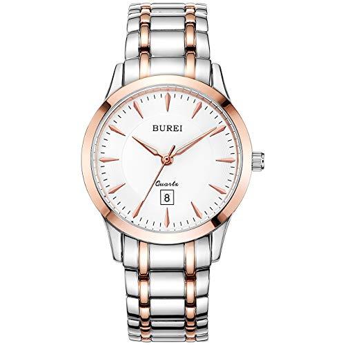 BUREI Damen Uhr Schlichtes elegantes weißes Zifferblatt Roségold Gehäuse Datumsanzeige Zweifarbiges Edelstahlband