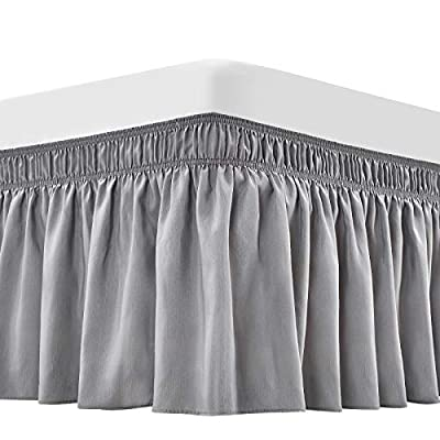 ARANA Bed Skirt Sliver Grey King Size Wrap-Around Dust Ruffles, 15 inch Drop Elastic Easy-Install Bedskirt Wrinkle/Fade Resistance, Machine Washable