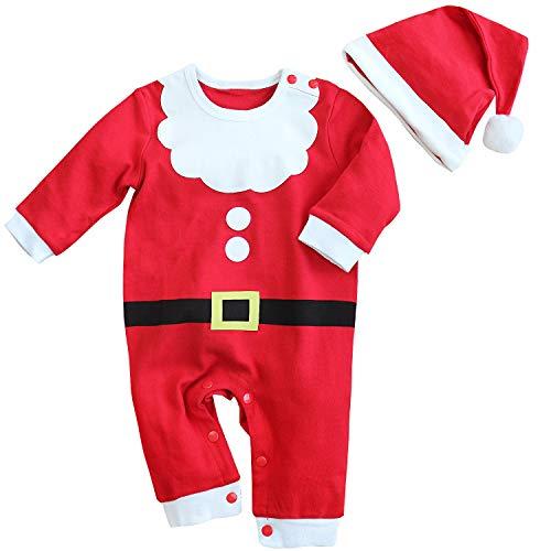 FANCYINN Disfraz de Papá Noel para bebés y niñas Mameluco de Navidad + Conjunto de Sombrero mi Primer Traje de Navidad de 18-24 Meses