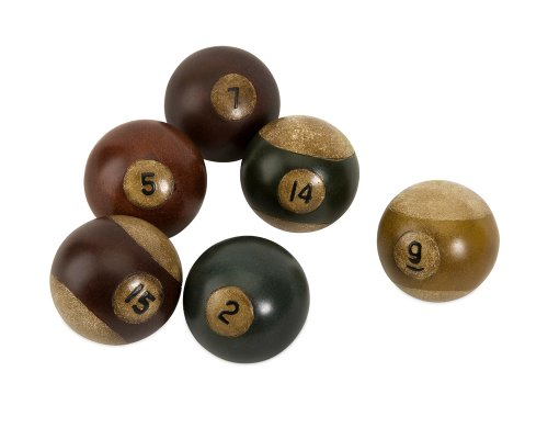 IMAX 70280-6 Antique Pool Balls - Set of 6 Snooker Balls for Game Room, Den - Hand Painted Decorative Billiard Balls. Billiard and Pool
