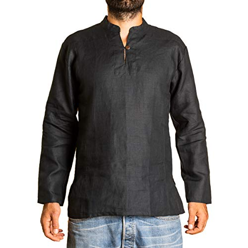 PANASIAM Shirt, 100% hemp, black, M, LS
