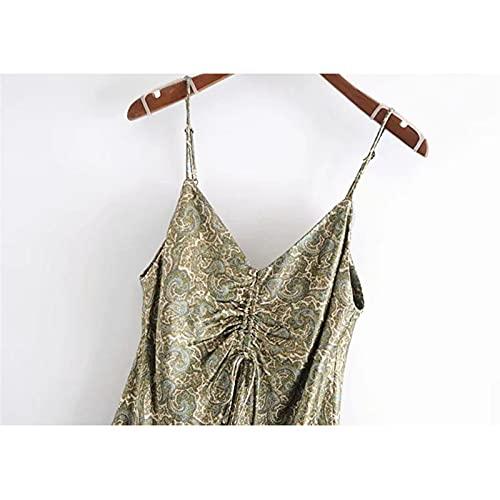 HONGJIU Vestido de Mujer, Verano Mujeres Arco Estampado Vintage v Cuello Correas Ajustables Vestidos Femeninos (Color : 1, Size : X-Small)