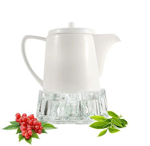 Sendez Kaffeekanne aus Porzellan mit Stövchen 800ml Teekanne Teebereiter Porzellankanne Kanne Weiß