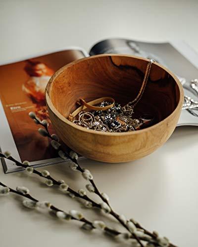 onvacay Teak-Holz Schale Bowl Vegan Salat Smoothie EIS Frühstück Porridge 15cm inkl. Löffel im Set Zertifiziert handgefertigt - 8