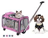 Trasportn plegable con ruedas para mascotas con cmodo forro polar para...