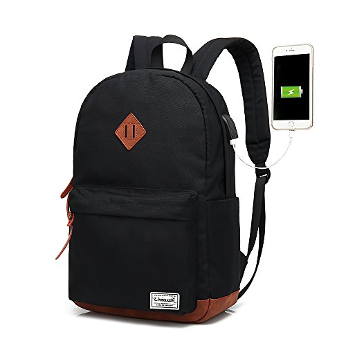 Classic College Backpack, Water-resistent Laptop Backpack with USB Charging Port & Headphone Adapter for Men & Women Slim Anti-Theft Travel Bookbags Fits up to 14