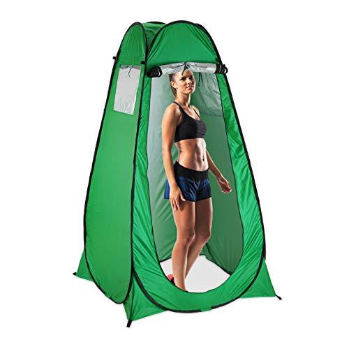 Relaxdays Duschzelt, Pop Up Stehzelt für Camping, Garten & Outdoor, Umkleide-& Toilettenzelt, 200 x 120 x 120 cm, grün