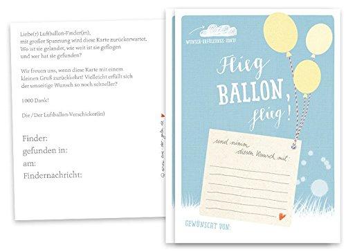 Eine der Guten 50 Ballonflugkarten - Flieg Ballon, flieg! - Spiel für die Hochzeit oder Taufe, Hochzeitsspiel & Partyspiel Ballonweitflug BLAU, Recyclingpapier co2 neutral