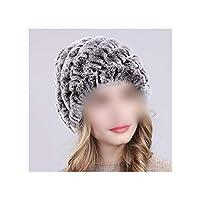 ロシアの女性の毛皮の帽子手作りニット毛皮の帽子暖かい毛皮ビーニーハット、コーヒー