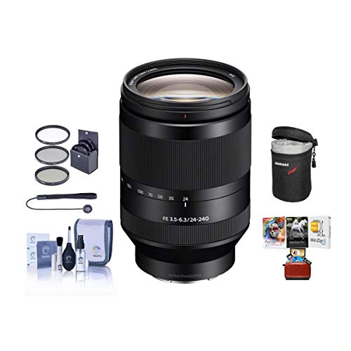 Sony FE 24-240mm F3.5-6.3 OSS E-Mount Lens Bundle with 72mm UV Filter, Lens Case, Cleaning Kit, LensCap Leash, Mac Software Package