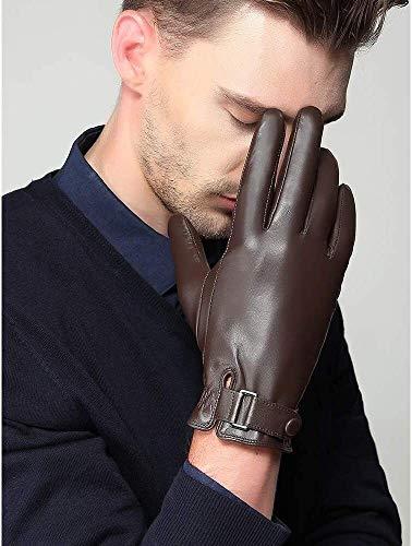 Guantes para hombre Guantes de piel de oveja Tamaño grande cálidos real guantes de cuero guantes de cuero de la pantalla invierno más el terciopelo que espesa conducción de bicicletas manopla fino tac