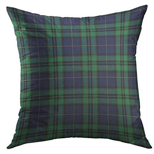 Mugod Decorative Throw Pillow Cover for Couch Sofa,Tartan Black Watch Plaid Bias Christmas Shirting Traditional Home Decor Pillow Case 18x18 Inch
