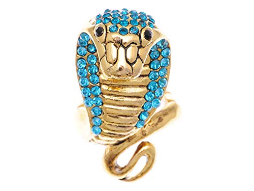 Alilang Women Gold Boa Striking Egyptian Viper Cobra Blue Aqua Crystal Rhinestone Snake Elastic Ring