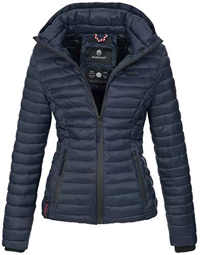 Marikoo Damen Jacke Steppjacke Übergangsjacke mit Kapuze gesteppt B600 [B600-Samt-Blau-Gr.M]
