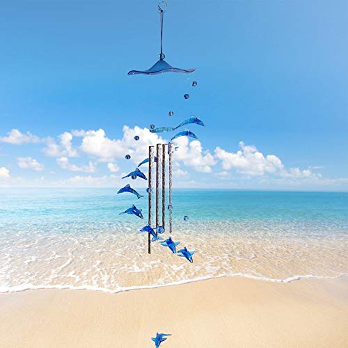 YAJYFJM Dolphin Wind Chimes (Blue Crystal) Outdoor Corridors, Lawns, Gardens and Interior Decoration, Gifts for Everyone, Memorial Wind Chimes for Loss of Loved one Prime