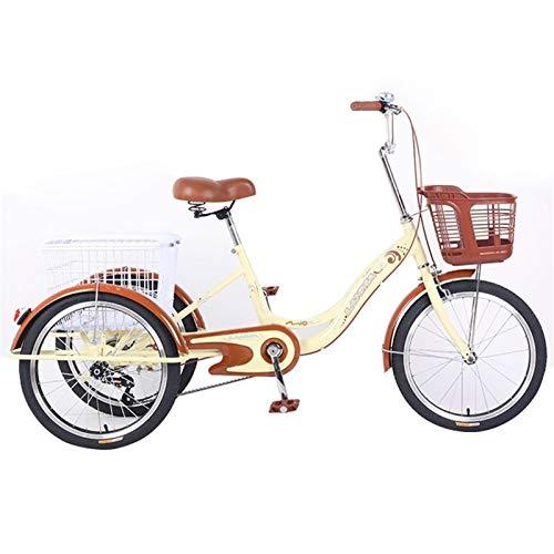 zyy Bicicleta de 1 Velocidades Bicicletas de Crucero de 20 Pulgadas Triciclo de Cesta Grande Adecuado para Compras de Deportes Al Aire Libre para La Tercera Edad Mujeres Hombres (Color : Beige)