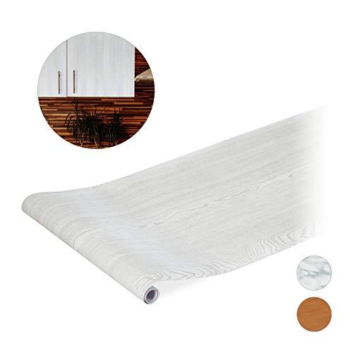 Relaxdays Plakfolie, voor doe-het-zelvers, meubels & keuken, decoratiefolie zelfklevend, houtlook, PVC, 45x200 cm, wit, 1