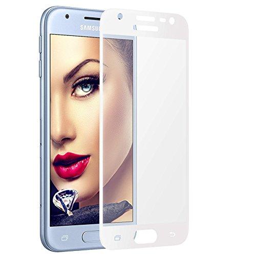 mtb more energy® Gewölbtes 3D Schutzglas für Samsung Galaxy J3 2017 (SM-J330, 5.0\'\') - weiß - 9H - 2.5D - Curved Full Display Glasfolie