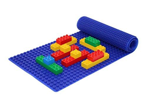 Beslo Hochwertige Baustein Matte aus Silikon I Doppelseitige Bauplatte Groß I Rollbare, Wasserfeste Grundplatte Kompatibel mit Lego Duplo I Flexible Platte BPA-frei, 30,5 x 80,5 cm Blau
