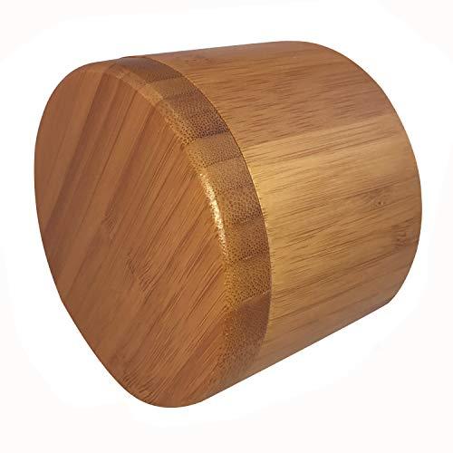 Kamenda Salzdose, Bambus Aufbewahrungsbox mit magnetischem Drehdeckel, Salz graviert auf dem Deckel - SALT