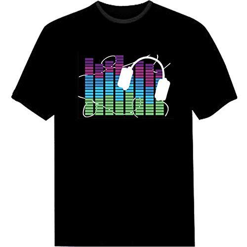 Kipeee Camiseta T-Shirt Camiseta Hombre Party Rock Sound Camiseta Led Luz Arriba Y Abajo Ecualizador Parpadeante Camiseta Brillante para Hombre,7,XXL