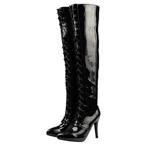 Etebella Damen Overknee Lackstiefel mit Schnürung Stiletto High Heels Spitz Thigh Boots Sexy Zipper Schuhe(Schwarz,40)