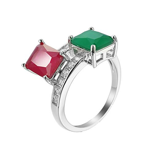 KnBob Women Girls Elegant Ring Rectangle Shape Red Green Cubic Zirconia Ring White Gold Plated Size L 1/2