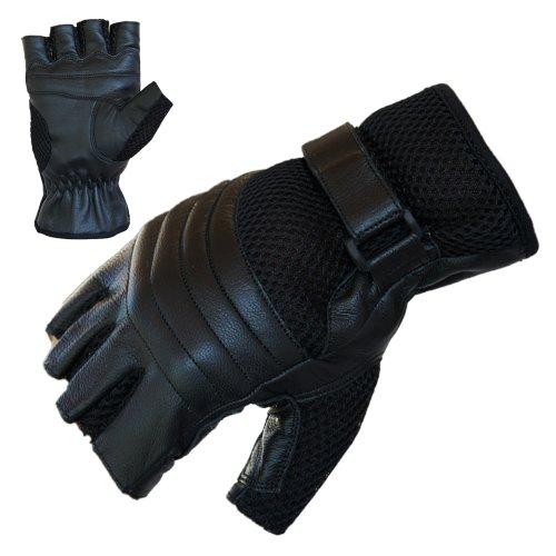 Motorradhandschuhe PROANTI® Leder Mesh Chopper Handschuhe (Gr. M, schwarz)