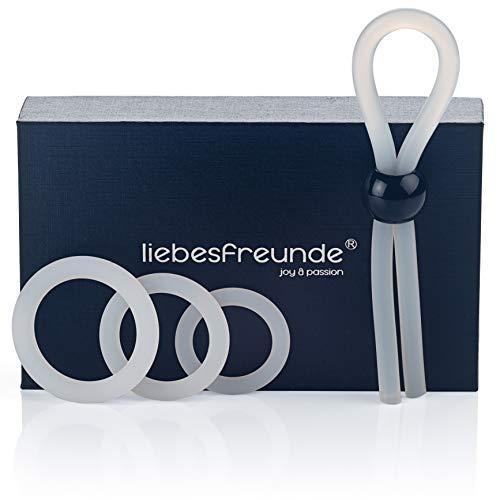 liebesfreunde® Cockring Set für Männer - Silikon Penisring Hodenring & Penisschlaufe - Sexspielzeug für Paare zur Potenzsteigerung