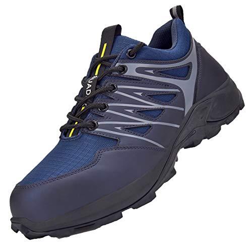 SUADEX Zapatos de Seguridad Hombre Mujer Zapatos de Trabajo Cómodo Anti-presión y Anti-pinchazos Ligeras Industriales Transpirables,Azul,46 EU
