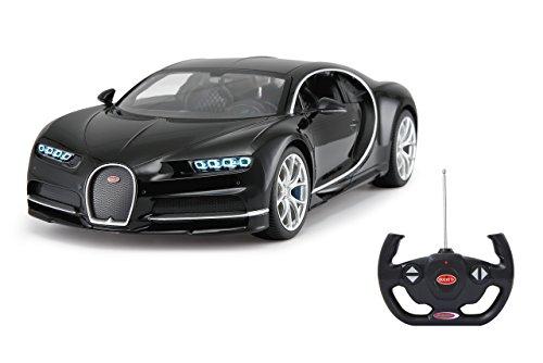 Jamara 405134 Bugatti Chiron 1:14 schwarz 27MHz-RC Auto, offiziell lizenziert, bis 1 Std Fahrzeit, ca 9 Km/h, perfekt nachgebildete Details, detaillierter Innenraum, hochwertige Verarbeitung, LED