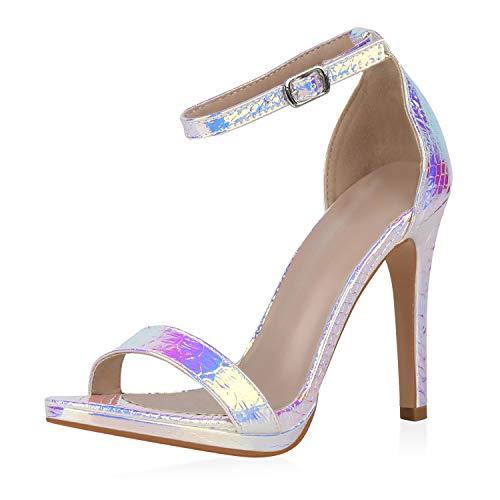 SCARPE VITA Damen High Heels Sandaletten Stiletto Metallic Schlangenleder-Optik Prints Abendschuhe Party Schuhe 194749 Silber Rose Gold Türkis Snake Holo 39