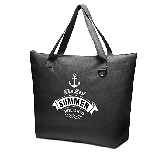 JANSBEN Bolsa de Playa Grande con Cremallera XXL Shopper Bolsa de Hombro Bolsos Totoes Bolso de Mano para Mujer Hombre