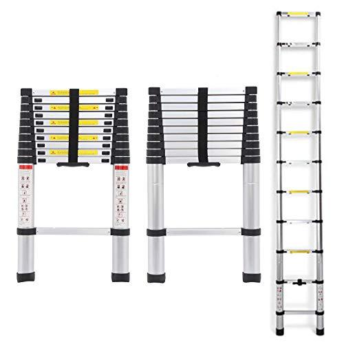Telescopic Ladder 3.2m 10.5Ft Aluminium Lightweight Portable Max Load 330lbs 11 Steps Extendable Foldable Ladder for DIY Home Work Builder Garden Office Loft Attic