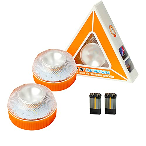 Luz de Emergencia,Luz LED de Advertencia para Coches vehículos con Linterna incluida para Carretera Señal V16 de Preseñalización de Peligro luz de avería,baliza de Emergencia Coche(2 pcs-con batería)