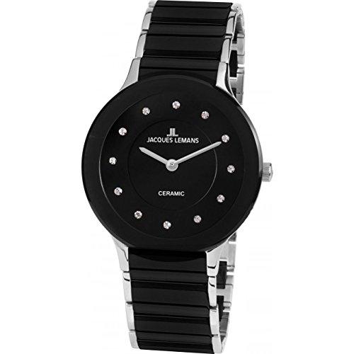 Jacques Lemans Damen Analog Quarz Uhr mit Edelstahl Armband 1-1856E