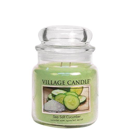 Village Candle Sea Salt Cucumber 16 oz Glass Jar Scented Candle, Medium