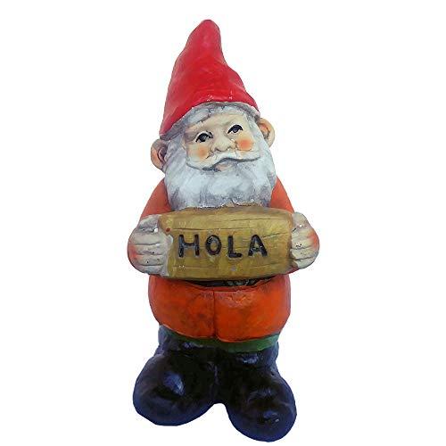 FunnyGnomes 6.5 Inch Hola Mexican Garden Gnome Cement Figure