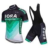 N+A Juego de maillot de ciclismo para hombre de manga corta con acolchado en 3D para bicicleta de montaña, de carreras y pantalones cortos de ciclismo, tallas M - 4XL verde L