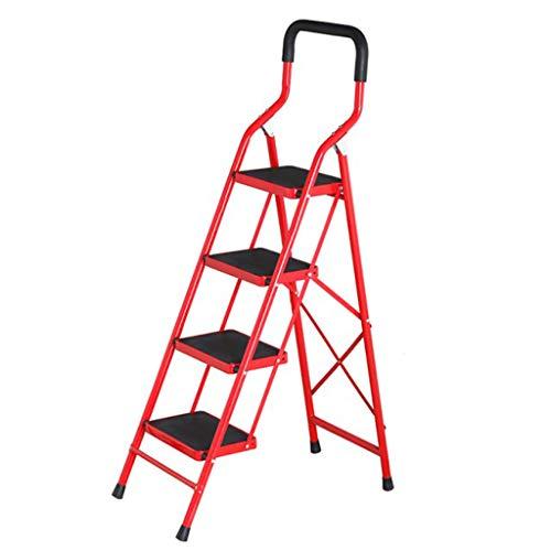 Haushaltsklappleiter Thick Stahlrohr-Bibliothek Tragbare Schwer Leiter, 4 Stufenleiter, Last 150kg Stabilität und Sicherheit
